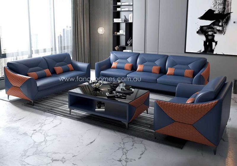 Fancy Homes Brooklyn-D Lounges Suites Leather Sofa Blue and Orange