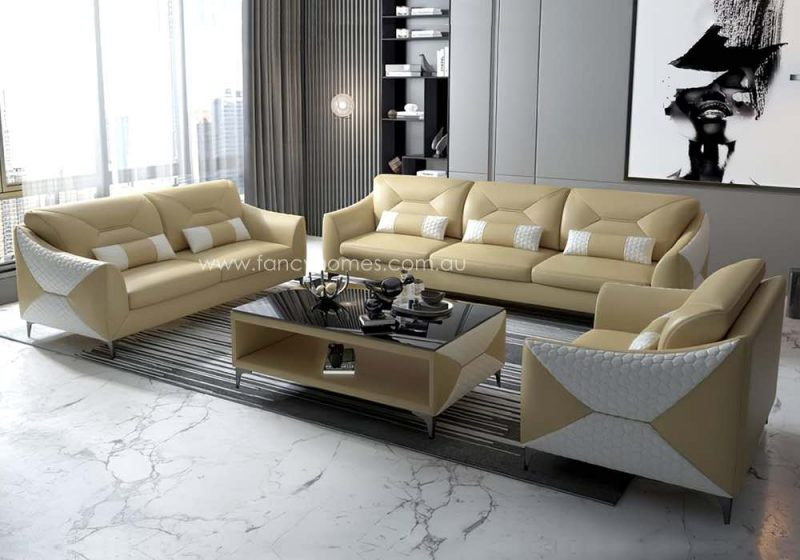 Fancy Homes Brooklyn-D Lounges Suites Leather Sofa Cream and White