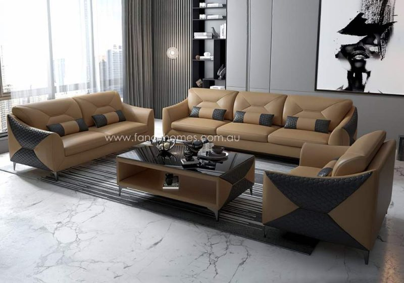 Fancy Homes Brooklyn-D Lounges Suites Leather Sofa Sand and Dark Grey