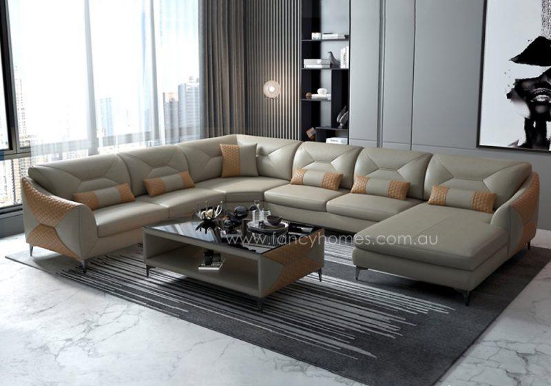 Fancy Homes Brooklyn Modular Leather Sofa Beige and Sand