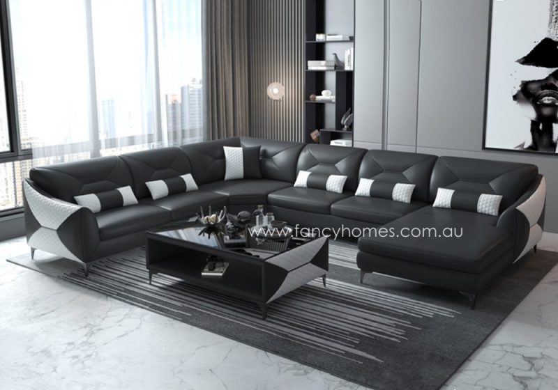 Fancy Homes Brooklyn Modular Leather Sofa Black and White
