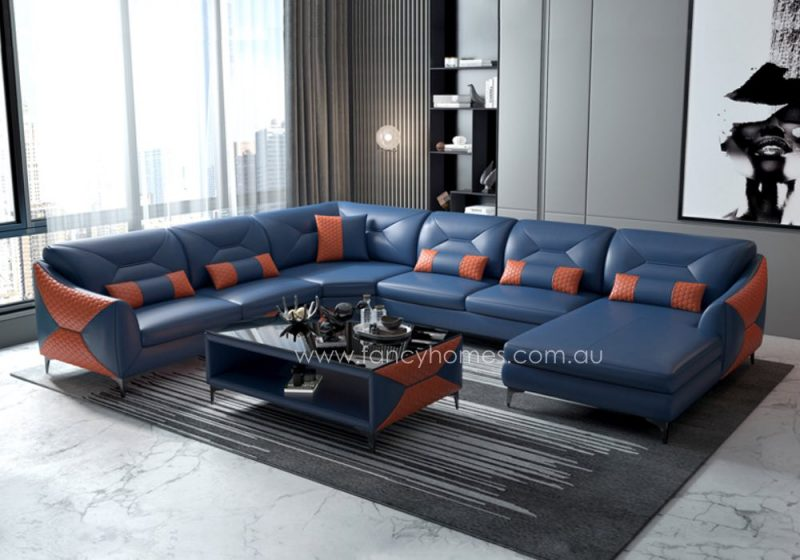 Fancy Homes Brooklyn Modular Leather Sofa Blue and Orange