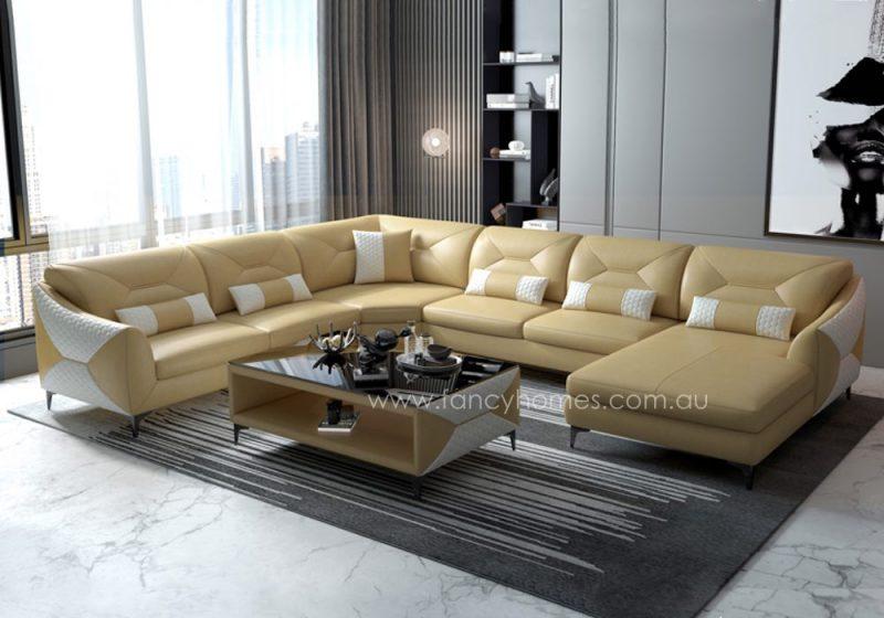 Fancy Homes Brooklyn Modular Leather Sofa Cream and White