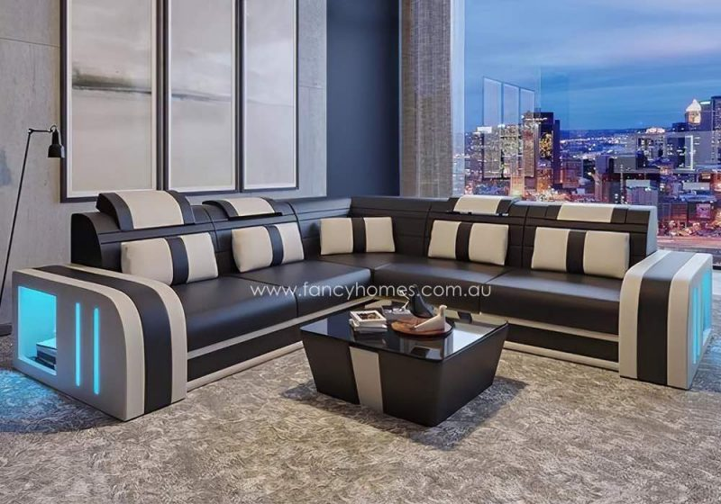 Fancy Homes Evoque-B Corner Leather Sofa Brown and Beige