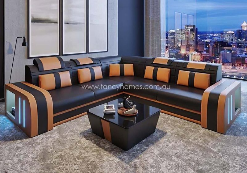 Fancy Homes Evoque-B Corner Leather Sofa Brown and Sand