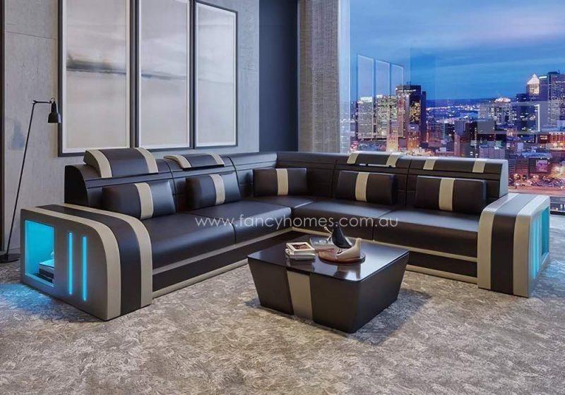 Fancy Homes Evoque-B Corner Leather Sofa Dark Brown and Beige