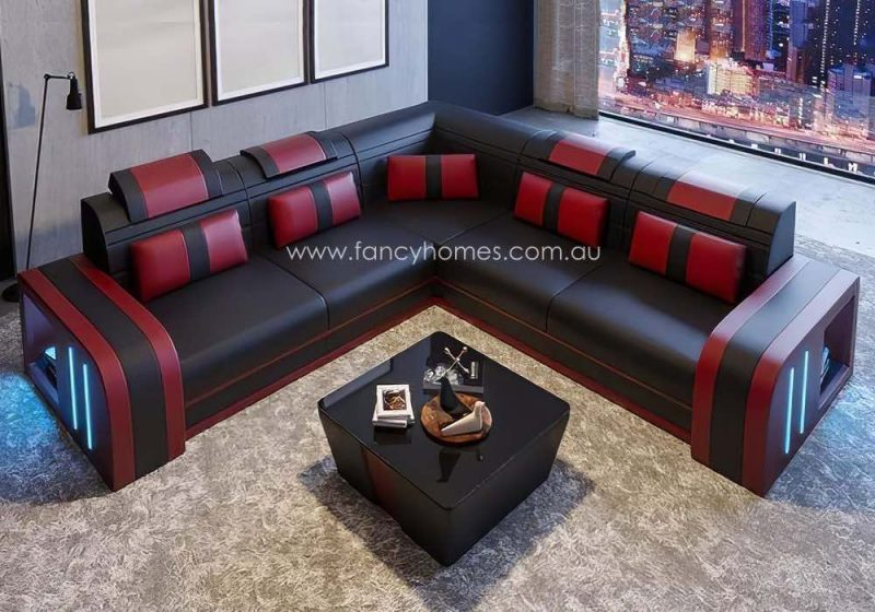 Fancy Homes Evoque-B Corner Leather Sofa Black and Red