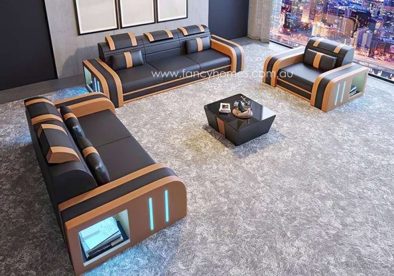 Fancy Homes Evoque-D Lounges Suites Leather Sofa Brown and Sand