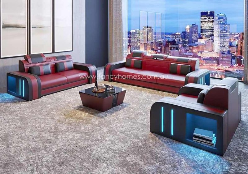 Fancy Homes Evoque-D Lounges Suites Leather Sofa Dark Red and Black