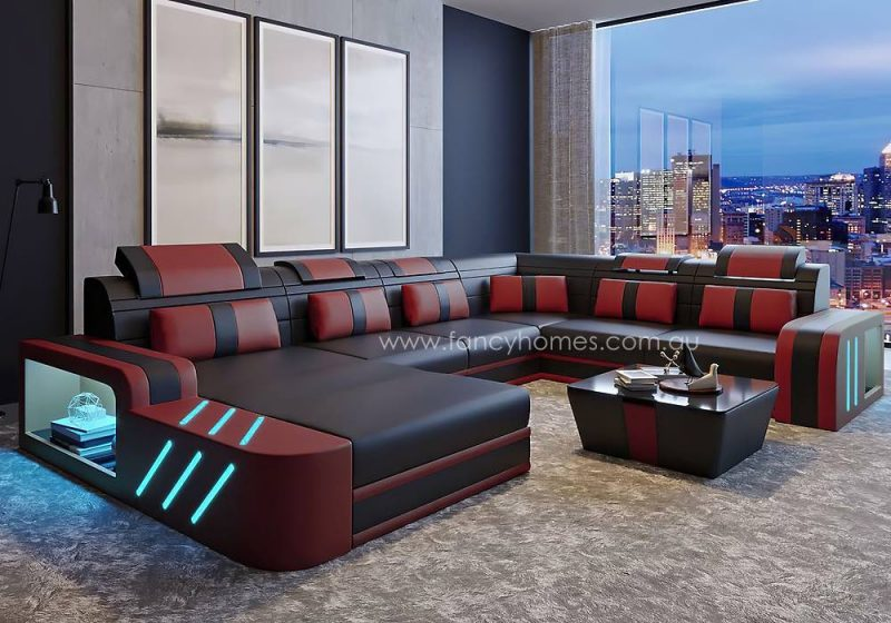 Fancy Homes Evoque Modular Leather Sofa Dark Red and Black