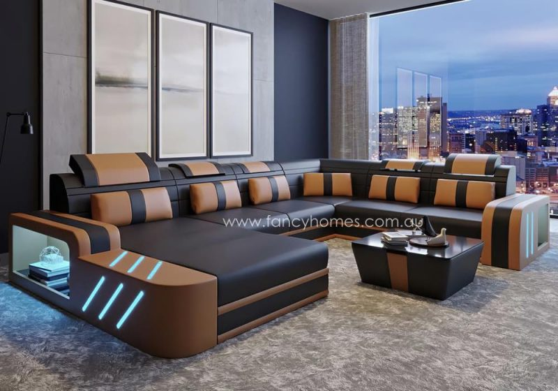 Fancy Homes Evoque Modular Leather Sofa Brown and Sand