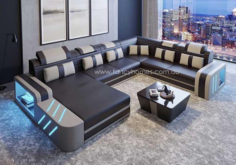 Fancy Homes Evoque Modular Leather Sofa Dark Brown and Beige