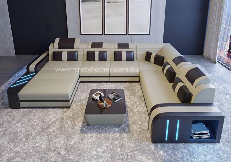 Fancy Homes Evoque Modular Leather Sofa Beige and Dark Brown