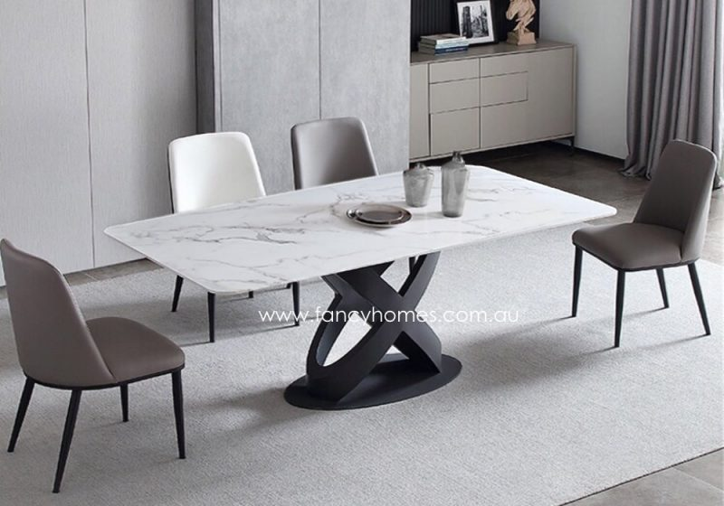 Fancy Homes Galaxy Marble Top Dining Table Venatino White