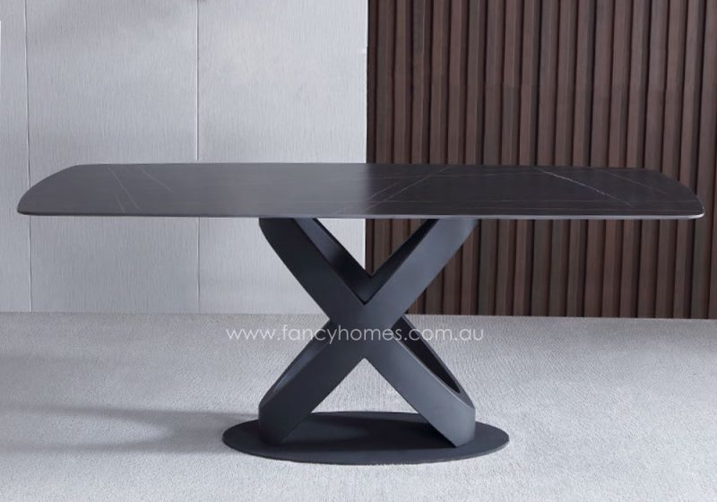 Fancy Homes Galaxy Sintered Stone Dining Table with Black Gold Top