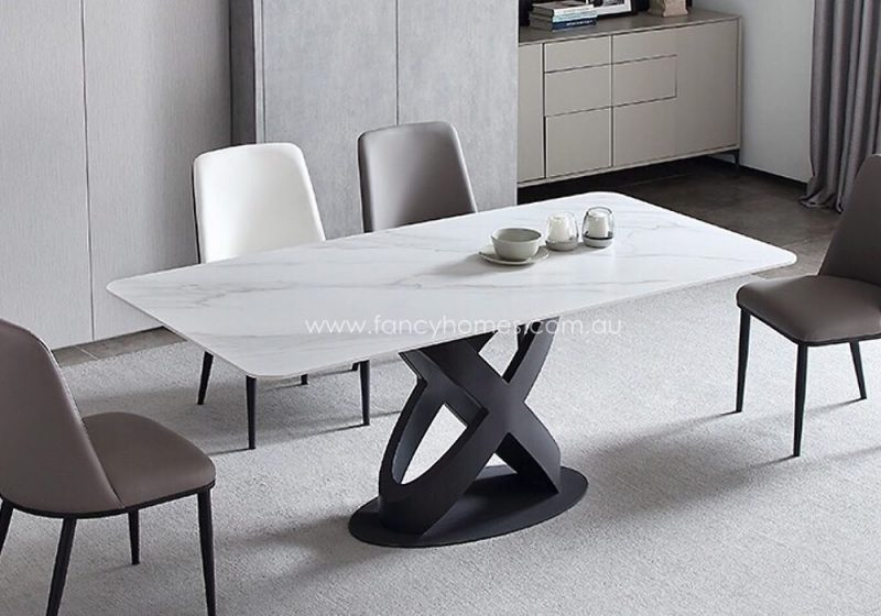Fancy Homes Galaxy Sintered Stone Dining Table in Cala White