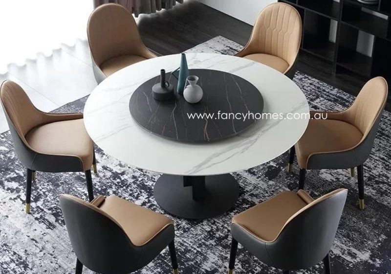 Fancy Homes Matisse Round Sintered Stone Dining Table with Andrea Dining Chairs