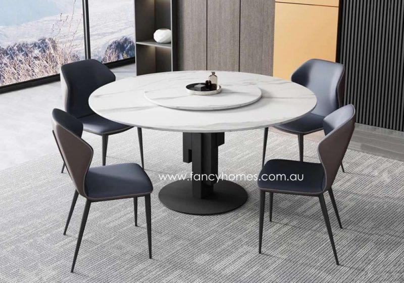 Fancy Homes Matisse Round Sintered Stone Dining Table with Liam Dining Chairs