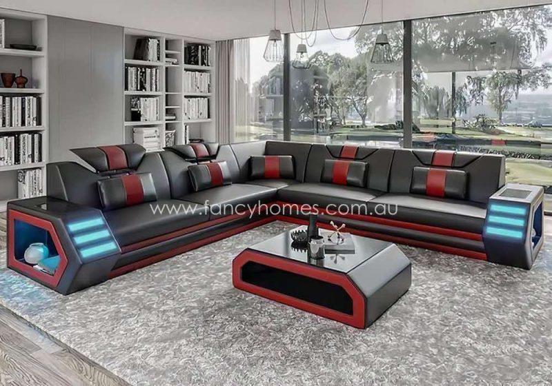 Fancy Homes Skylar-B Corner Leather Sofa Black and Red