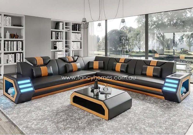 Fancy Homes Skylar-B Corner Leather Sofa Black and Sand