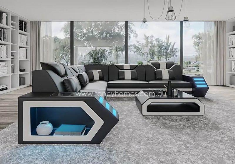 Fancy Homes Skylar-B Corner Leather Sofa Black and White