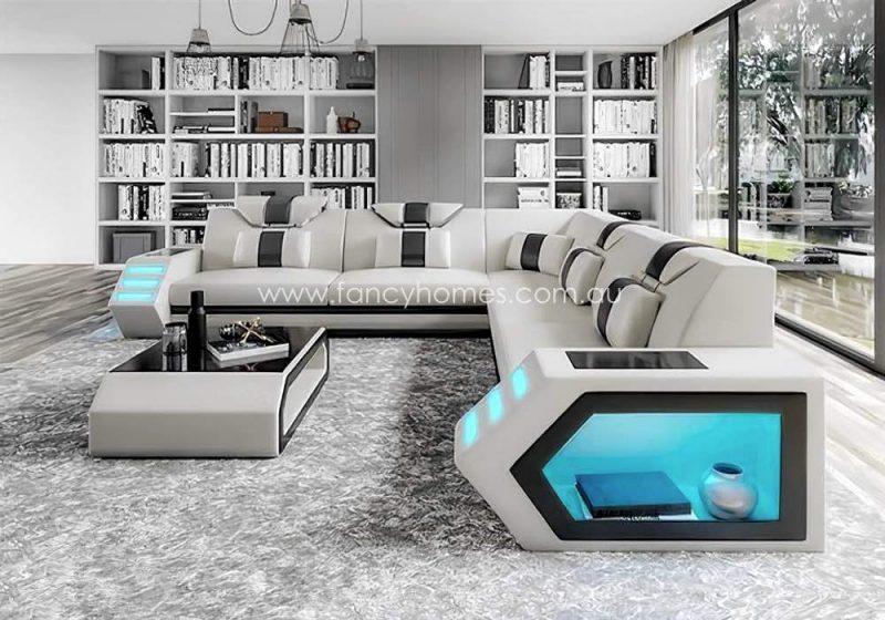 Fancy Homes Skylar-B Corner Leather Sofa White and Black