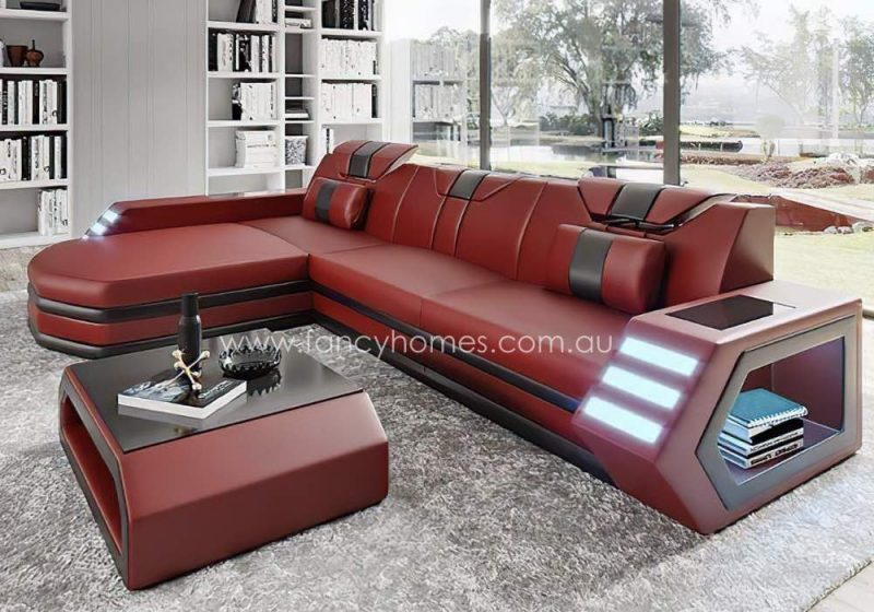 Fancy Homes Skylar-C Chaise Leather Sofa Red and Black