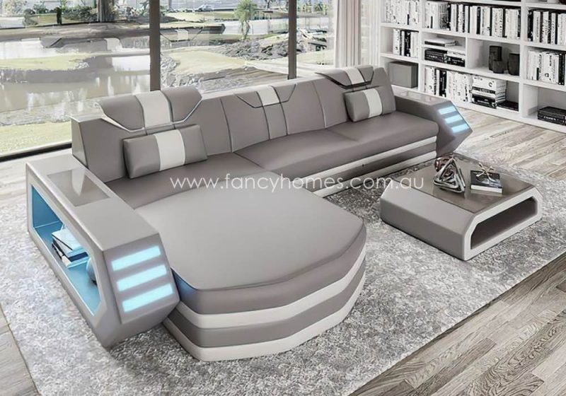 Fancy Homes Skylar-C Chaise Leather Sofa Light Grey and White