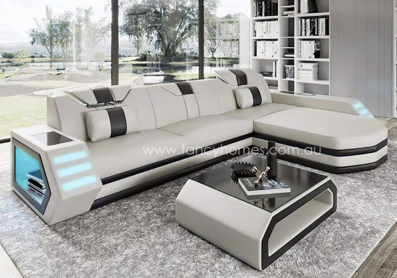 Fancy Homes Skylar-C Chaise Leather Sofa White and Black