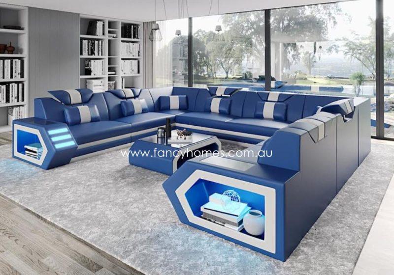 Fancy Homes Skylar-F Modular Leather Sofa Blue and White