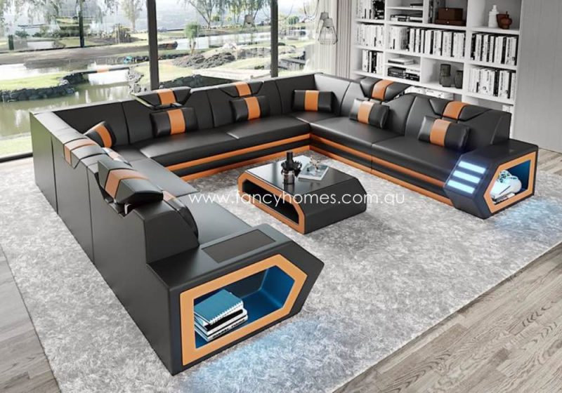 Fancy Homes Skylar-F Modular Leather Sofa Black and Sand