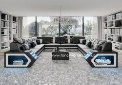 Fancy Homes Skylar-F Modular Leather Sofa Black and White