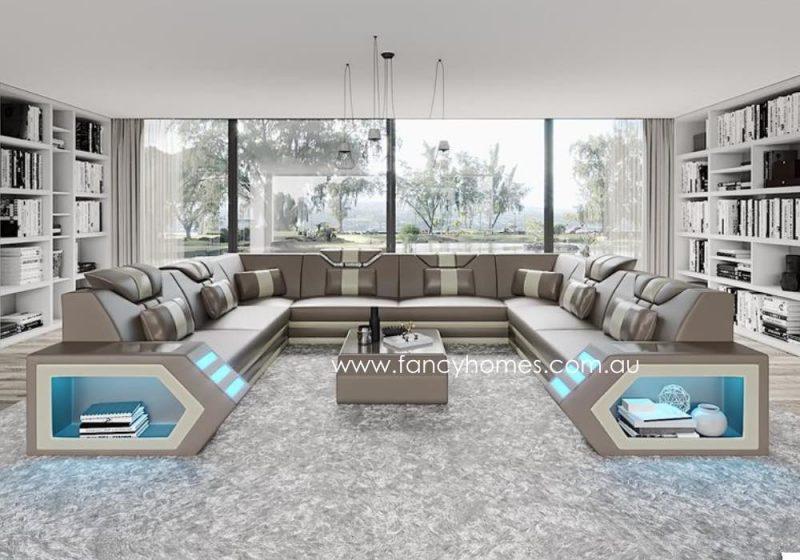 Fancy Homes Skylar-F Modular Leather Sofa Light Grey and White