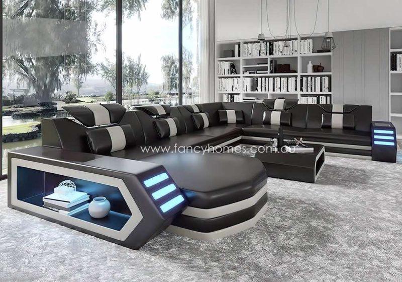 Fancy Homes Skylar Modular Leather Sofa Black and White