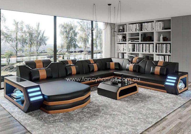 Fancy Homes Skylar Modular Leather Sofa Black and Sand