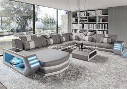 Fancy Homes Skylar Modular Leather Sofa Light Grey and White