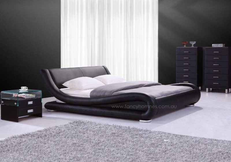 Fancy Homes Blake Italian Leather Bed Frame Leather Beds Black