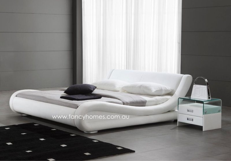 Fancy Homes Blake Italian Leather Bed Frame Leather Beds White