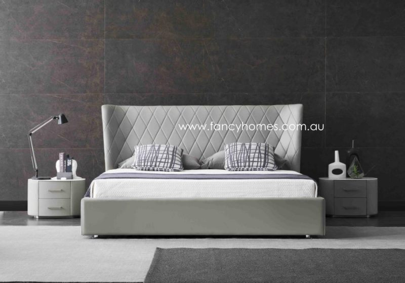 Fancy Homes Italian Leather Bed Frame Leather Beds Light Grey