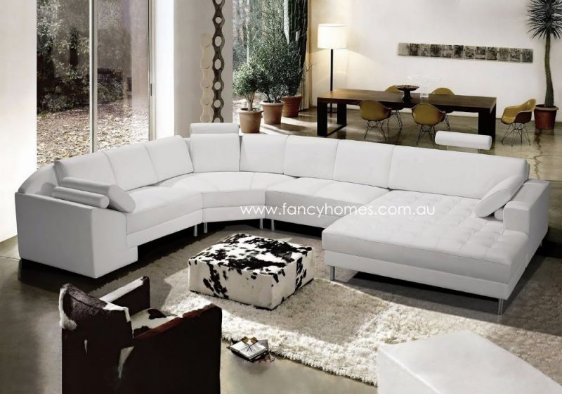 Fancy Homes Madison Modular Leather Sofa White