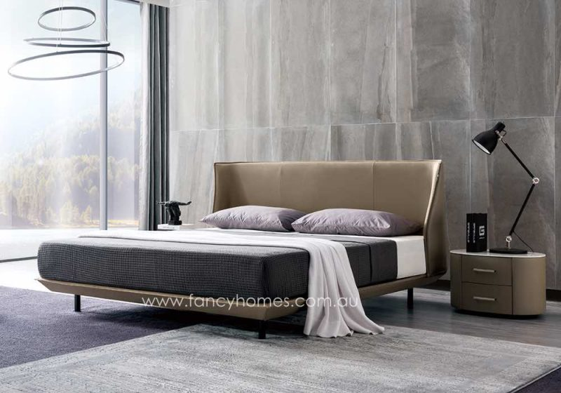 Fancy Homes Marley Italian Leather Bed Frame Leather Beds in Beige