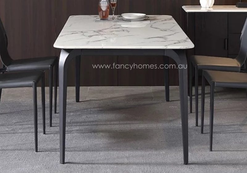 Fancy Homes Alexis Marble Top Dining Table Side