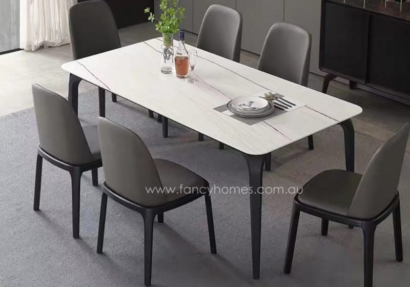 Fancy Homes Alexis Sintered Stone Dining Table in White Gold