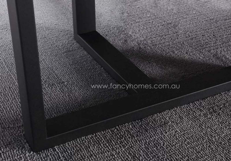 Fancy Homes Carter Marble Top Dining Table Black Carbon Steel Base
