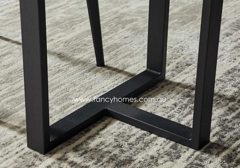 Fancy Homes Carter Sintered Stone Dining Table Black Carbon Steel Base
