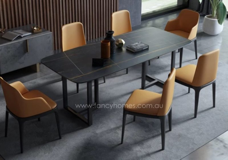 Fancy Homes Carter Sintered Stone Dining Table Black Top