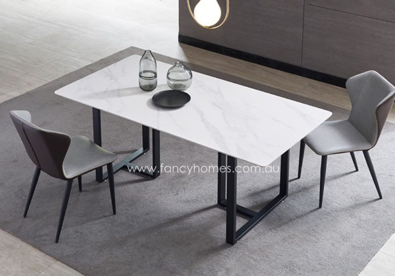 Fancy Homes Carter Sintered Stone Dining Table White Top