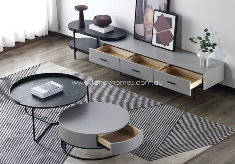 Fancy Homes Micah Coffee Table and TV Unit Black and Grey with Storages