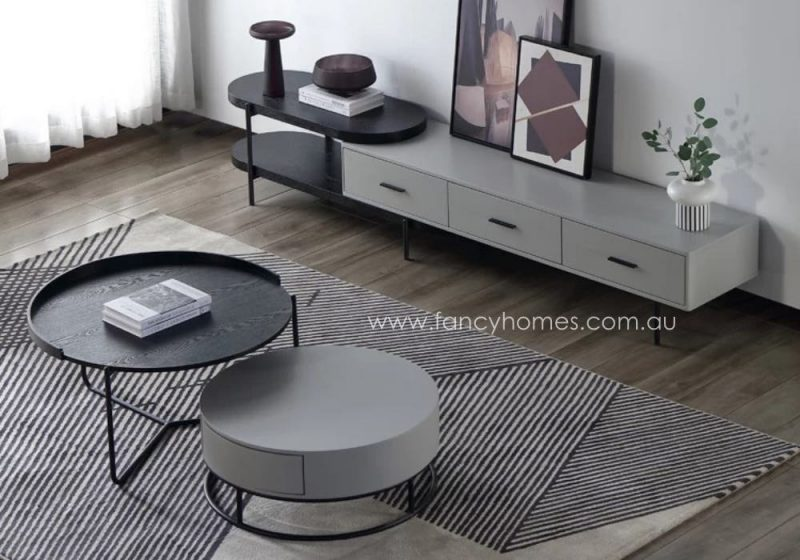 Fancy Homes Micah Coffee Table and TV Unit Grey and Black