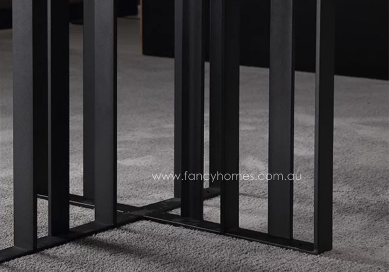Fancy Homes Veronica Marble Top Dining Table Black Carbon Steel Base